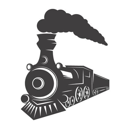 Ilustración de Vintage train isolated on white background. Design element for logo, label, emblem, sign. Vector illustration - Imagen libre de derechos