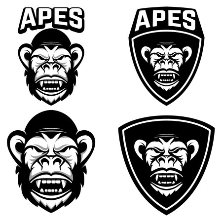Illustration for Set of emblems templates with monkey head - Royalty Free Image