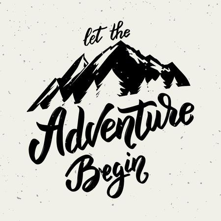 Ilustración de Let the adventure begin. Hand drawn lettering on white background. Design element for poster, card. - Imagen libre de derechos