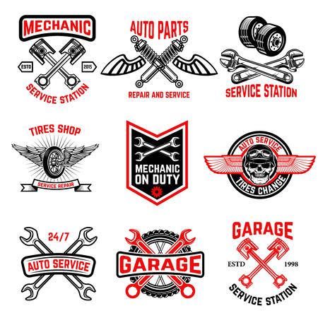 Illustration pour Set of auto service emblems. Auto parts, tires shop,mechanic on duty. Design elements for logo, label, emblem, sign, badge. - image libre de droit