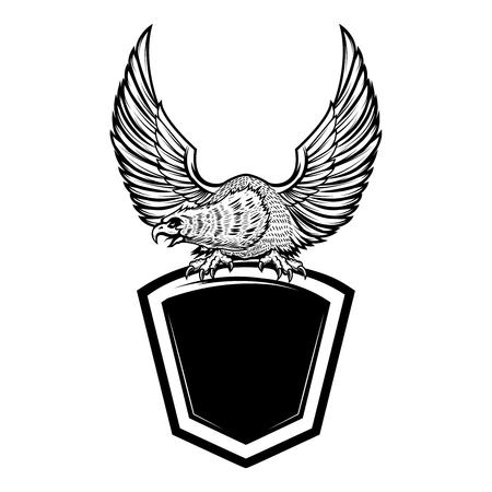 Illustration for Eagle bird on blank shield. Design element for emblem, sign, badge. Vector illustration - Royalty Free Image