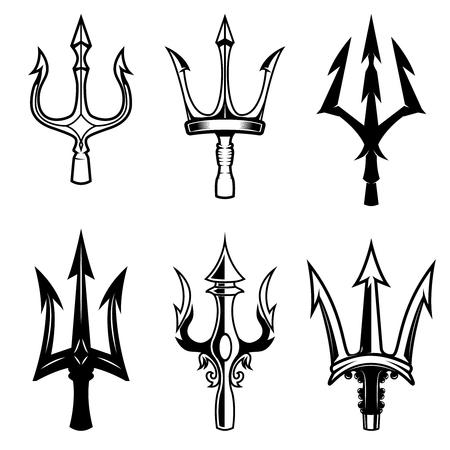 Ilustración de Set of trident icons isolated on white background. Design elements for logo, label, emblem, sign. - Imagen libre de derechos