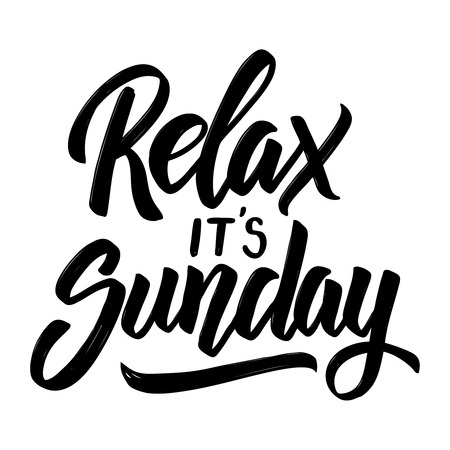 Illustration pour Relax it's sunday. Hand drawn lettering phrase isolated on white background. Vector illustration - image libre de droit