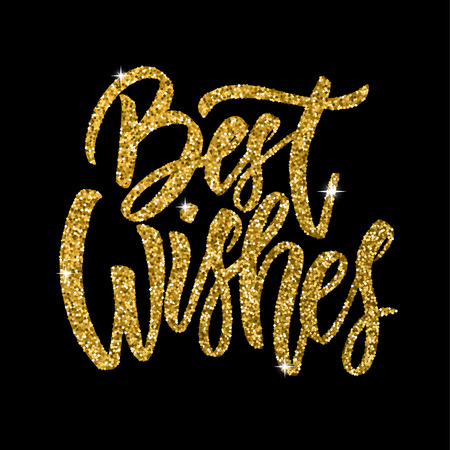 Illustration for Best wishes. Hand drawn lettering phrase isolated in golden style on dark background. Design element for poster, greeting card. Vector illustration - Royalty Free Image