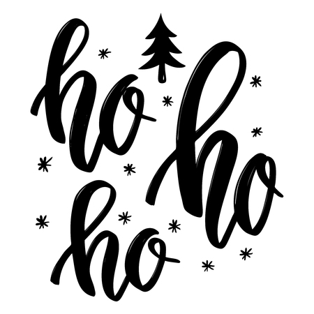Illustration pour Ho ho ho. Hand drawn lettering phrase. Christmas theme. Design element for poster, banner, card, flyer. Vector illustration - image libre de droit