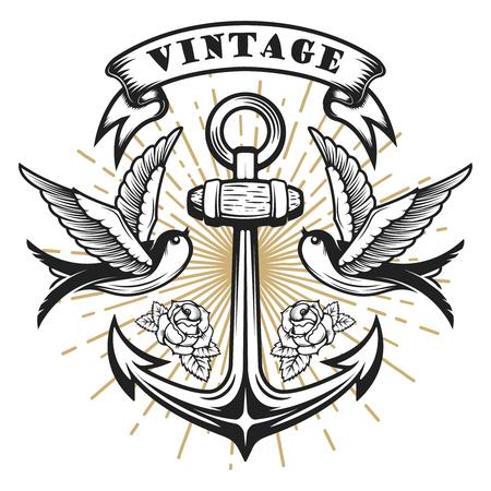Illustration for Old school style swallow illustration with anchor. Tattoo style illustration. Design elements for logo, label, emblem, sign. Vector illustration - Royalty Free Image