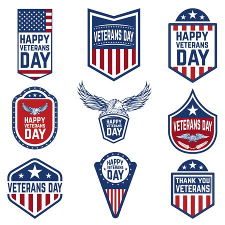 Ilustración de Set of veterans day emblems. USA culture. Design elements for logo, label, emblem, sign. Vector illustration - Imagen libre de derechos