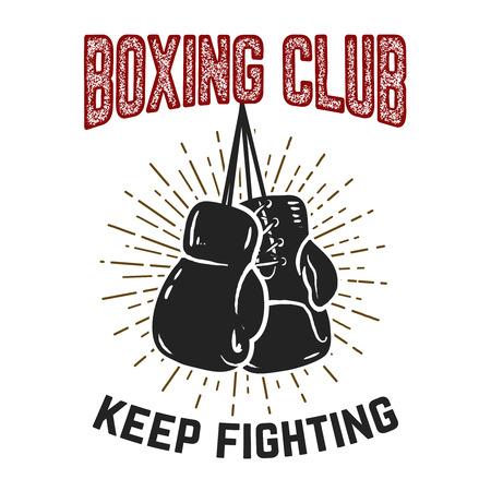 Ilustración de Boxing club. Keep fighting. Boxing gloves on grunge background. Design element for poster, card, banner, emblem, sign. Vector illustration - Imagen libre de derechos