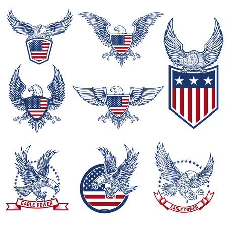 Illustration for Set of emblems with eagles and american flags. Design elements for logo, label, emblem, sign. Vector illustration - Royalty Free Image