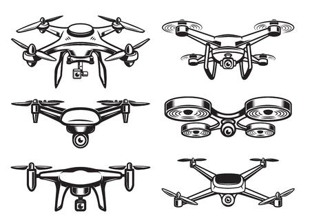 Illustration pour Drone quadrocopter logo design, emblem - image libre de droit