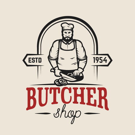 Illustration pour Butcher shop. Design element for logo, label, emblem, sign, poster. Vector illustration - image libre de droit