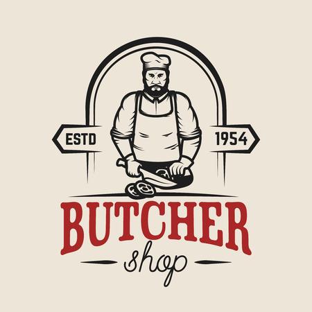 Ilustración de Butcher shop. Design element for logo, label, emblem, sign, poster. Vector illustration - Imagen libre de derechos
