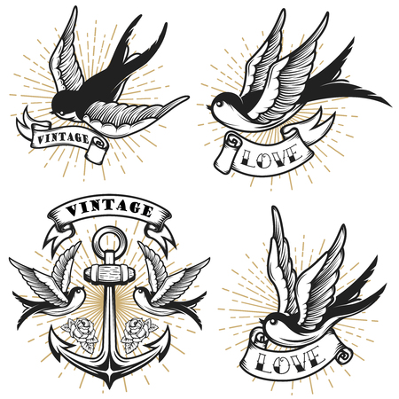 Ilustración de Set of vintage style tattoo with swallow birds, anchor isolated on white background. Design element for logo, label, emblem, sign. Vector illustration. - Imagen libre de derechos