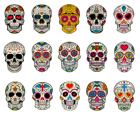 Illustration for Set of sugar skulls illustrations. Dead day. Dia de los muertos. Design elements for poster, card, flyer, banner. Vector illustration. - Royalty Free Image