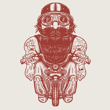 Photo for Funny biker caricature. Racer on little motorcycle. Design element for poster, t-shirt, card, banner. Vector illustration - Royalty Free Image