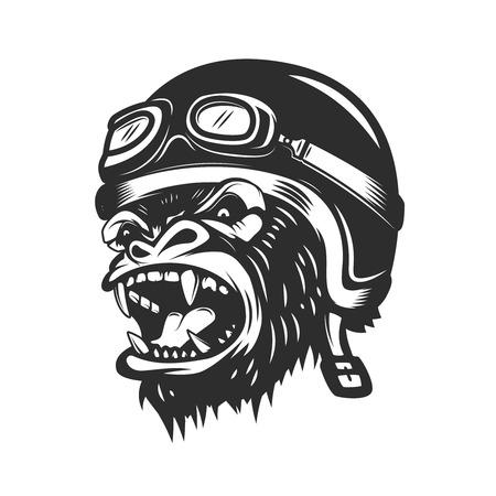 Illustration for Angry gorilla ape in racer helmet. Design element for logo, label, emblem, poster, t shirt. Vector illustration - Royalty Free Image