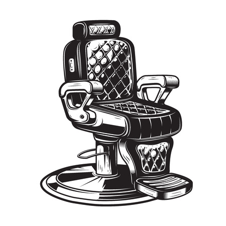 Illustration pour Barber chair illustration on white background. Design element for poster, emblem, sign, badge. Vector illustration - image libre de droit
