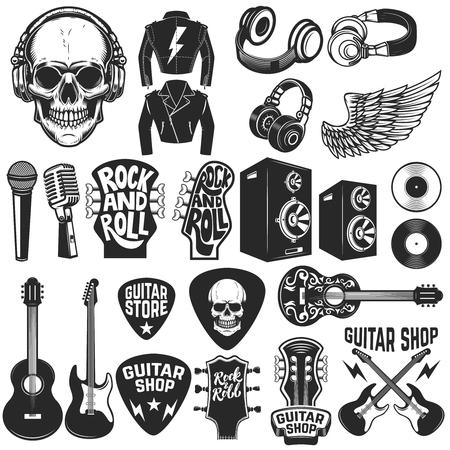 Illustration pour Set of the rock music design elements. Guitar shop. Design elements for logo, label, emblem, sign, poster. Vector illustration - image libre de droit