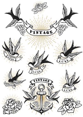 Illustration for Set of swallow tattoo. Vintage anchor and roses. Design element for logo, label, emblem, sign. Vector illustration - Royalty Free Image