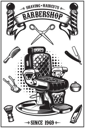 Ilustración de Barbershop poster with barber chair, haircut tools. Design elements for poster, emblem. Vector illustration - Imagen libre de derechos