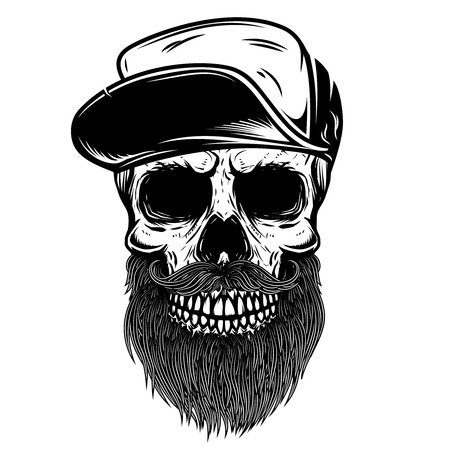 Illustrazione per Bearded skull in baseball cap. Design element for t shirt, poster, emblem, sign. Vector illustration - Immagini Royalty Free
