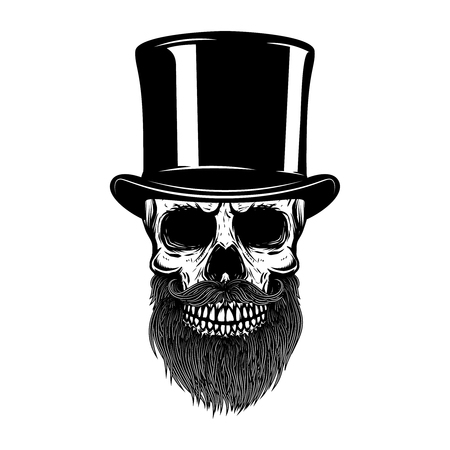 Illustrazione per Bearded skull in retro hat. Gentleman club. Design element for t shirt, poster, emblem, sign. Vector illustration - Immagini Royalty Free