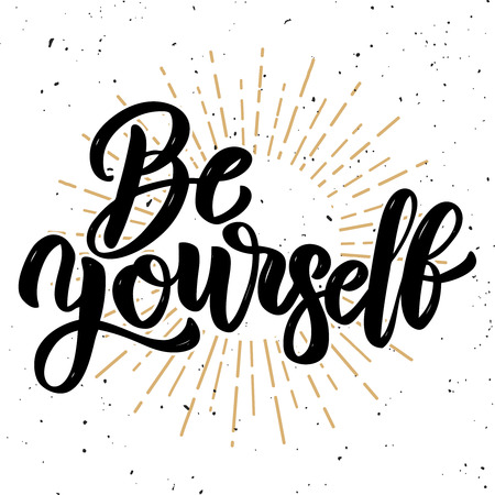 Ilustración de Be yourself. Hand drawn motivation lettering quote. Design element for poster, banner, greeting card. Vector illustration - Imagen libre de derechos