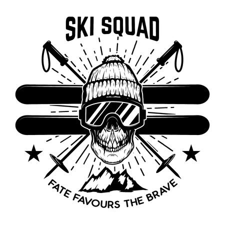 Illustration pour Ski squad. Extreme skull with skis. Design element for emblem, sign, label, poster. Vector illustration - image libre de droit