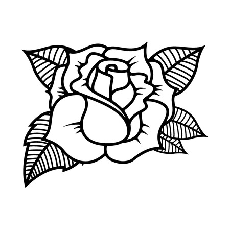 Illustration pour Tattoo style rose illustration on white background. Design elements for label, emblem, sign. Vector illustration - image libre de droit