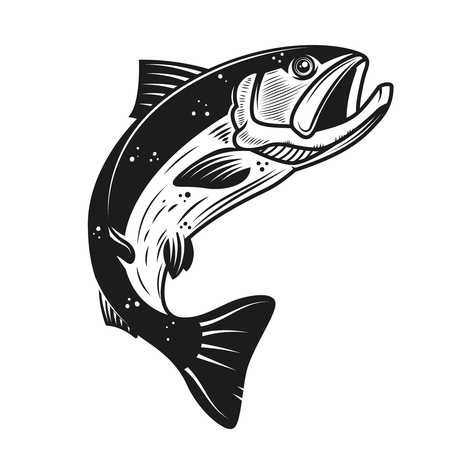 Illustration for Salmon icon isolated on white background. Design element for label, emblem, sign, banner, poster. Vector illustration - Royalty Free Image