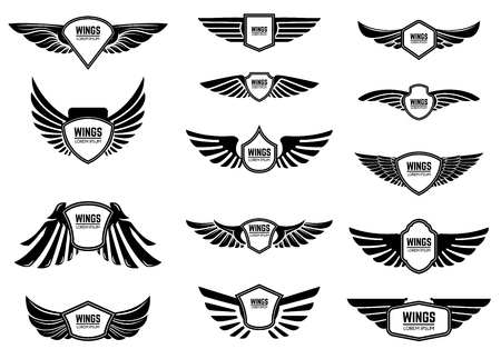Illustration for Set of blank emblems with wings. Design elements for emblem, sign, label. Vector illustration - Royalty Free Image