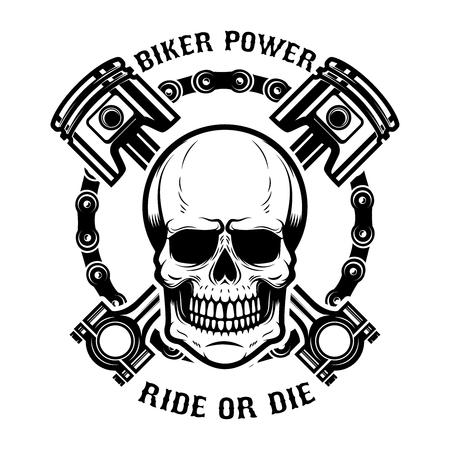 Ilustración de Biker power, ride or die. Human skull with crossed pistons. Design element for logo, label, emblem, sign. Vector illustration - Imagen libre de derechos