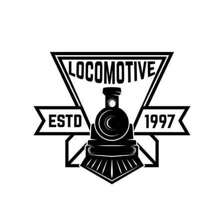 Illustration pour Emblem template with retro train. Rail road. Locomotive. Design element for logo, label, emblem, sign. Vector illustration - image libre de droit