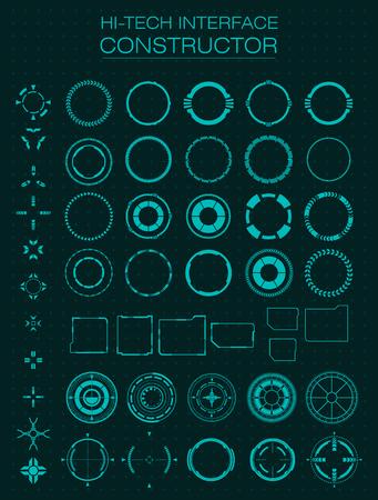 Illustration pour Hi-tech interface constructor. Design elements for hud, user interface, animation, motion design. Vector illustration - image libre de droit
