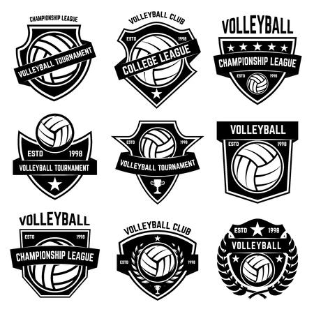 Illustration pour Volleyball emblems on white background. Design element for logo, label, emblem, sign, badge. Vector illustration - image libre de droit