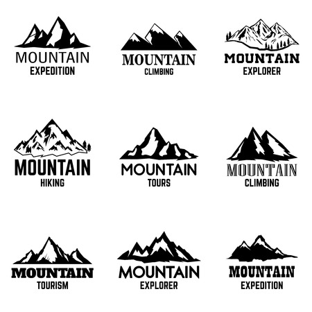 Illustration pour Set of mountain icons isolated on light background. Design elements for logo, label, emblem, sign. Vector illustration - image libre de droit