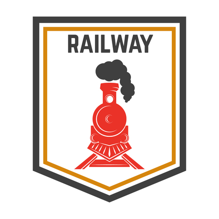 Illustration pour Emblem template with retro train, Rail road, Locomotive design element for label, emblem, sign. - image libre de droit