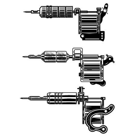 Ilustración de Set of tattoo machines isolated on  white background. Design element for poster, emblem, sign, badge. Vector illustration - Imagen libre de derechos