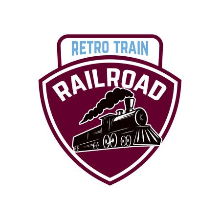 Ilustración de Emblem template with retro train. Rail road  Locomotive  Design element for logo, label, emblem, sign. Vector illustration - Imagen libre de derechos