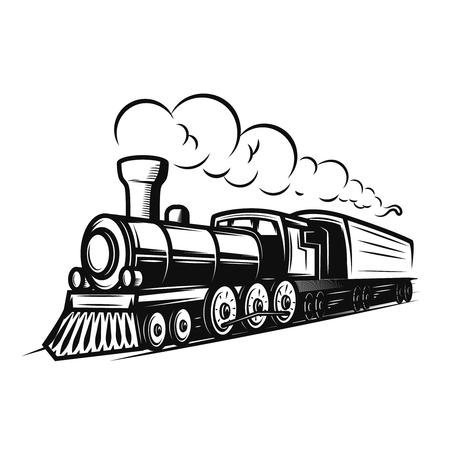 Illustration pour Retro train illustration isolated on white background. Design element for logo, label, emblem, sign. - image libre de droit