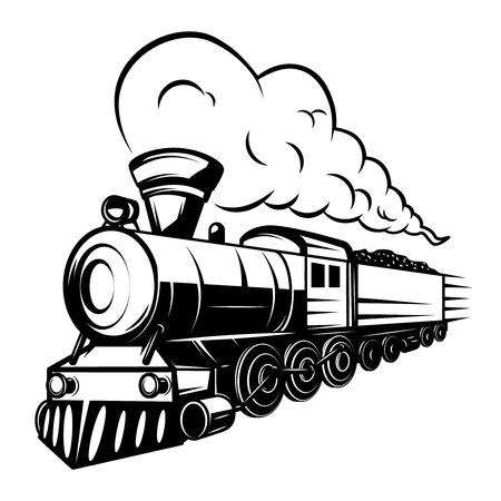 Illustration for Retro train illustration isolated on white background. Design element for logo, label, emblem, sign. Vector illustration - Royalty Free Image