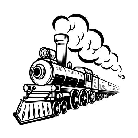 Ilustración de Retro train illustration isolated on white background. Design element for logo, label, emblem, sign. Vector illustration - Imagen libre de derechos