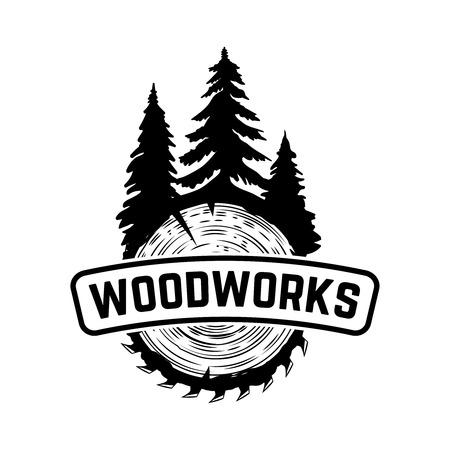 Ilustración de Wood works. Emblem template with cut wood. Design element for icon, label, emblem, sign. Vector illustration. - Imagen libre de derechos