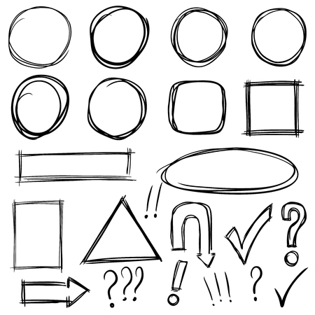 Illustration pour Set of hand drawn shapes and characters icons - image libre de droit