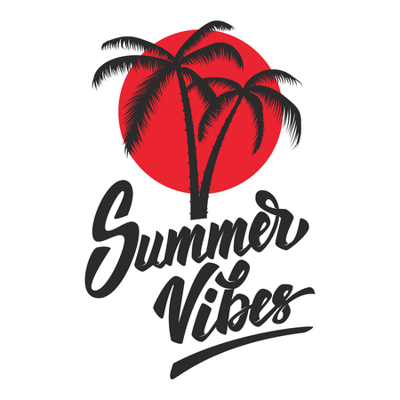 Illustration for Summer vibes Lettering phrase with palm icon - Royalty Free Image