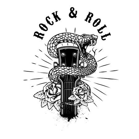 Illustration pour Rock and roll. Guitar head with snake and roses. Design element for poster, card, banner, emblem,  shirt. Vector illustration - image libre de droit