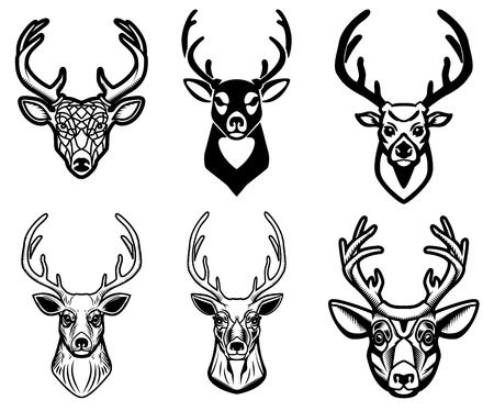 Ilustración de Set of deer head illustrations on white background. Design elements for poster, emblem, sign, badge. - Imagen libre de derechos