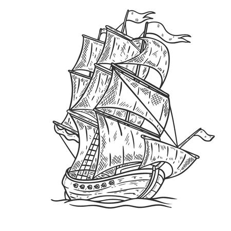 Illustration pour Hand drawn sea ship illustration on white background. Design element for poster, card, t-shirt, emblem. - image libre de droit