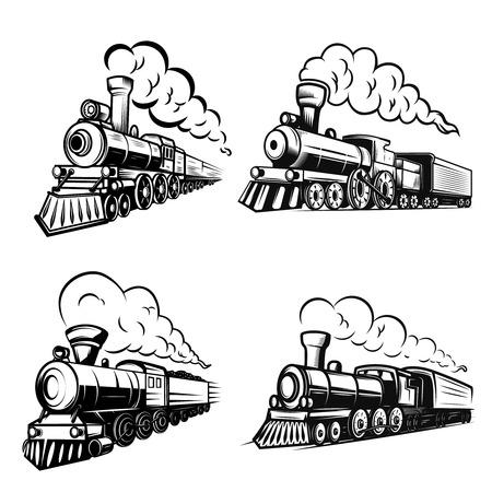 Illustration pour Set of retro locomotives on white background. Design elements for logo, label, emblem, sign. Vector image - image libre de droit