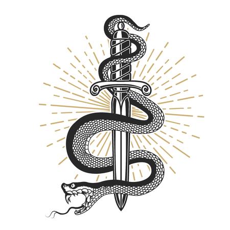 Illustration for Snake on knife in tattoo style. Design element for t shirt, poster, card, emblem, sign. Vector illustration - Royalty Free Image